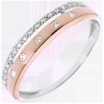 cadeaux femmes Anneau Féérie - Couronne d'Étoiles - petit modèle - or rose, or blanc - 22 diamants
