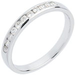 Geschenk Trauring zur H�lfte mit Diamanten besetzt in Weissgold - Kanalfassung  - 11 Diamanten : 0.2 Karat