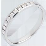 Geschenk Frau Trauring zur Hälfte mit Diamanten besetzt in Weissgold - Kanalfassung  - 0.25 Karat - 10 Diamanten