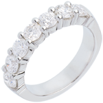 bijouterie Alliance or blanc semi pav�e - serti griffes - 1.5 carats - 7 diamants