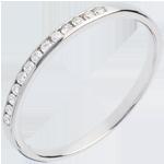 Hochzeit Trauring zur H�lfte mit Diamanten besetzt in Weissgold - Kanalfassung  - 13 Diamanten