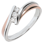 Inel de logodnă Cuib Preţios - Trilogie diamant - 3 diamante - aur alb şi aur roz de 18K