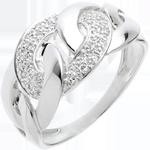 mariage Bague sautoir or blanc pavé - 24 diamants