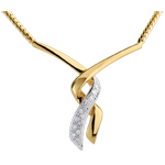 cadeaux femme Collier Baiser du gu�pard or jaune pav� - 13 diamants