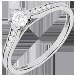 Solitario Duquesa oro blanco empedrado - 0.31 quilates - 9 diamantes - 18 quilates