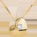 Colier inimă pătimaşă aur galben de 9K diamante