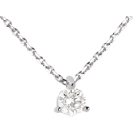 bijouteries Collier solitaire or blanc  - 0.26 carat
