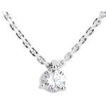 bijoux or Collier solitaire or blanc - 0.31 carat
