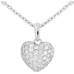 achat on line Pendentif coeur pav� or blanc et beli�re  - 0.67 carat - 50 diamants