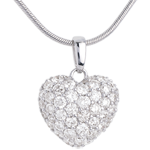 Paved diamond heart pendant - 1.04 carat - 50 diamonds