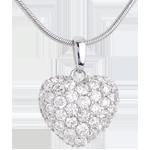 Naszyjnik Serce z białego złota 18-karatowego wysadzany diamentami i kółko (duży model) - 1,04 karata - 50 diamentów