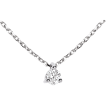 achat Collier solitaire or blanc  - 0.16 carat