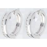 Créoles or blanc 18 carats diamants - serti rail - 0.33 carats - 22 diamants