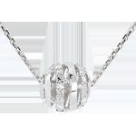 cadeaux femme Collier Amour en Cage or blanc - 11 diamants - 45cm