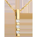 Pandantiv trilogie din aur galben de 18K - 0.22 carate - 3 diamante