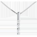 Pandantiv trilogie din aur alb de 18K - 0.22 carate - 3 diamante