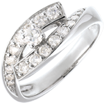 Bague Solitaire Destin�e - Diva - or blanc - grand mod�le - 0.15 carat - 18 carats