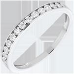 Alliance sertis magiques or blanc 18 carats et diamants