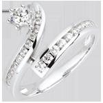 cadeau femmes Bague la bonne étoile diamants et or blanc