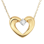 Collier joli coeur or jaune 9 carats et diamant - 45cm