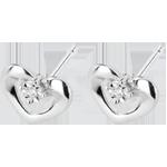 Chip Oorbellen Mooie Harten - 18 karaat witgoud met diamant