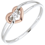cadeau Bague Mon Amour - or blanc, or rose et diamant