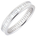 Alliance or blanc pav�e - serti rail - 1.22 carats - diamants baguettes - Tour complet