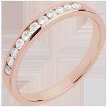Geschenk Frauen Trauring zur H�lfte mit Diamanten besetzt in Rotgold - Kanalfassung - 11 Diamanten