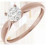bijoux or Bague roseau or rose sph�re pav�e - 0.12 carat