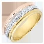 Anillo Egeria - 3 oros y diamantes - 9 quilates
