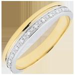 Elegance Wedding ring - Yellow Gold and Diamonds - 9 carats