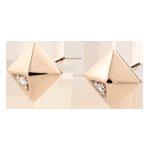 Earrings Genesis - Rough Diamonds - Rose Gold - 18 carat