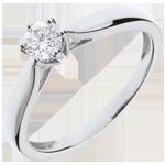 Pierścionek w kształcie trzciny z jednym diamentem oprawionym w 6 krap - złoto białe 18-karatowe - 0,3 karata