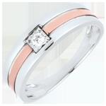 bijou or Bague Triple rang or rose or blanc - 0.062 carat