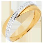 Alianza Saturno D�o - diamantes - oro amarillo y oro blanco - 18 quilates