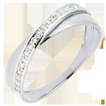 Obrączka Saturn Duo - diamenty - złoto białe 9-karatowe