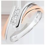 Pierścionek zaręczynowy Drogocenne Gniazdo - Trzy diamenty – duży model - różowe złoto i białe złoto 18-karatowe