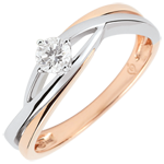 Pierścionek Drogocenne Gniazdo z jednym diamentem - Dova - diament 0,15 karata - złoto białe i złoto różowe 18-karatowe