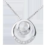 femme Collier Zephir or blanc et diamants