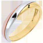 Trouwring Saturnus Trilogie - drie goudkleuren - 9 karaat