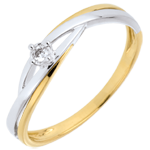 Inel de logodnă Dova cu diamant solitaire - diamant de 0.03 carate - aur alb şi aur galben de 9K