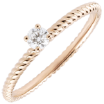 joaillerie Bague Solitaire Corde d'or - or rose - 0.1 carat