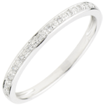 Obrączka Diamentowy Blask - złoto białe 18-karatowe i diament - półkole