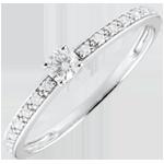 Inelul de Logodnă Aur Alb diamanr Solitaire Boreal - diamant 0.09 carate - aur alb de 9K
