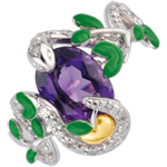 cadeau femme Bague Balade Imaginaire - Serpent d'�den - Argent, diamants et pierres fines