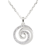 femme Collier Spirale d'amour or blanc