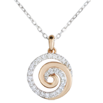 achat on line Collier Spirale d'amour or blanc et or rose