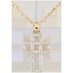 Hanger Kruis met geometrische Diamant - 9 karaat geelgoud