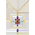 Ciondolo croce bizantina multicolore - Oro giallo - 9 carati - Granato - Quarzo citrino - Olivina - Topazio - Ametista - 2.34 ca