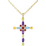 Pendentif Croix Byzance multicolore - or jaune 9 carats